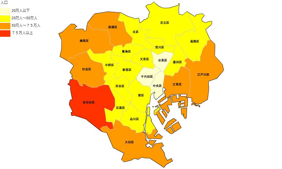 東京都の人口分布図